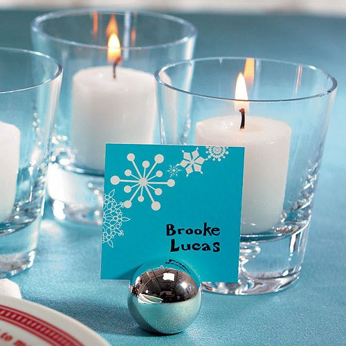 Winter Silver Ball Placecard Holder