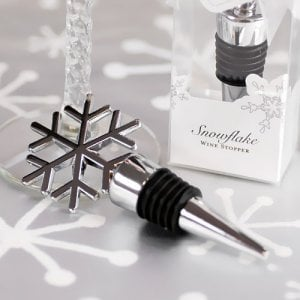 Silver Snowflake Wine Stopper Favors