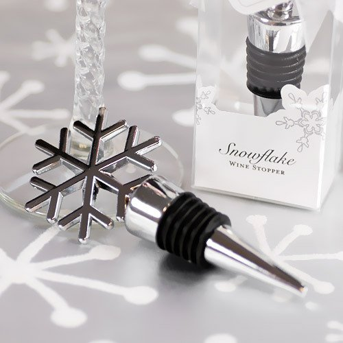 Silver Snowflake Wine Stopper Favor