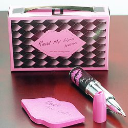 Lipstick Pen and Notepad Favors