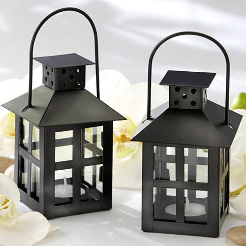 Mini Lantern Tea Light Holder in Black