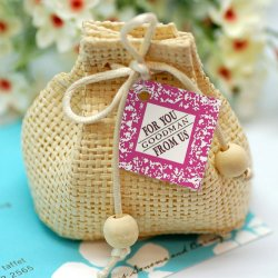 Mini Natural Woven Drawstring Sacs