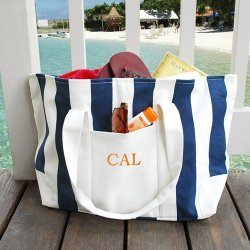 Embroidered Canvas Beach Tote