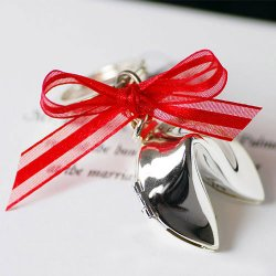Silver Fortune Cookie Key Chain