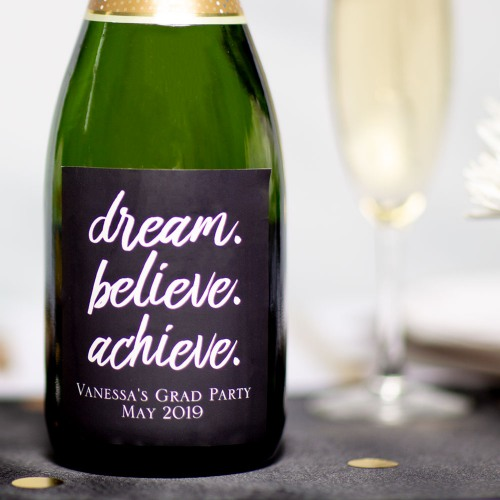 Personalized Dream Believe Achieve Party Wine Labels