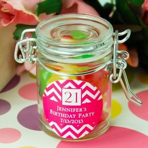 Personalized Glass Birthday Favor Jars