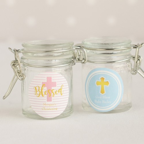 Personalized Religious Glass Favor Jars