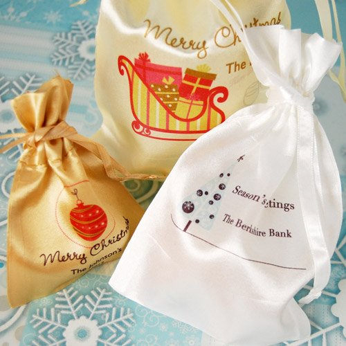 Personalized Holiday Satin Bags