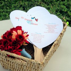 DIY Heart Shaped Wedding Program Fan Kit