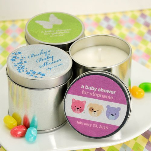 Personalized Baby Shower Travel Candle Tins