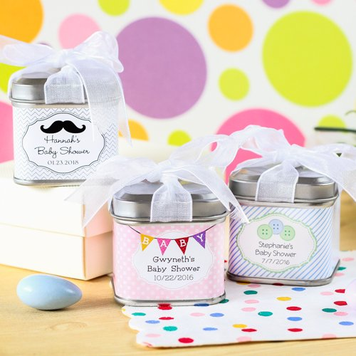 Personalized Square Baby Shower Favor Tins