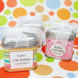 Personalized Square Birthday Favor Tins