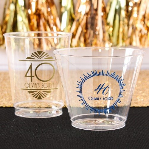 Personalized Clear Plastic Milestone Birthday Cups