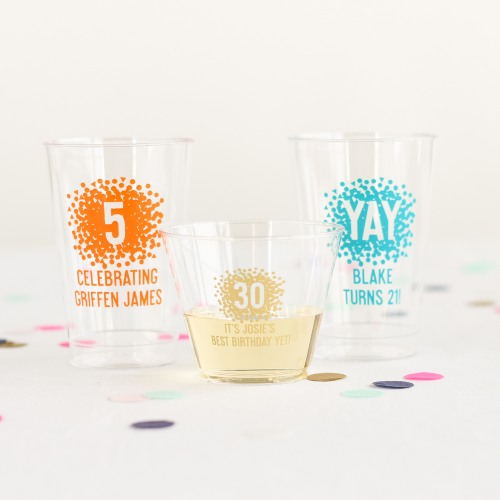 Personalized Clear Confetti Birthday Cups