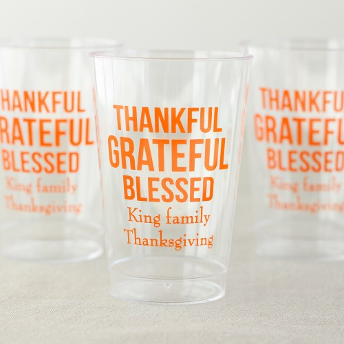 Personalized Clear Thanksgiving Cups
