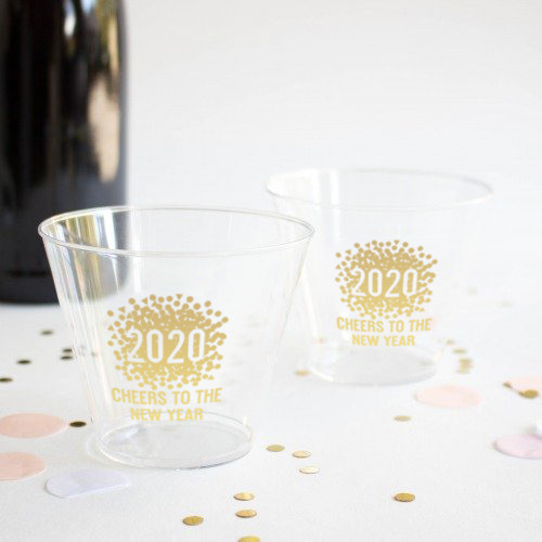 Personalized Clear New Years Cups