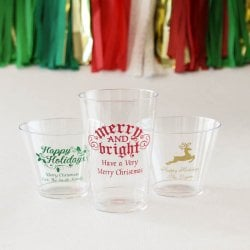 Personalized Clear Plastic Holiday Cups
