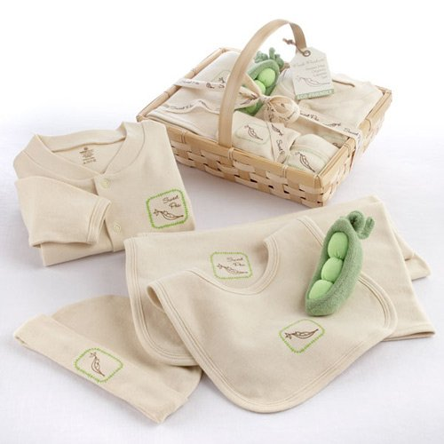 Five Piece Organic Sweet Pea Layette Gift Basket
