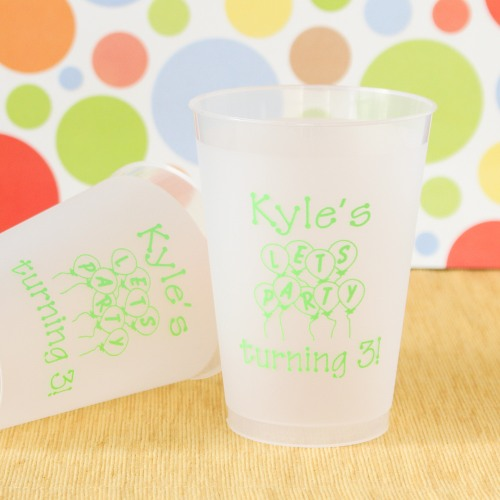 Personalized Frosted Plastic Birthday Cups