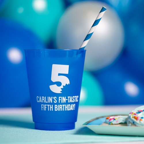 Personalized Shark Bite Frosted Plastic Birthday Cups