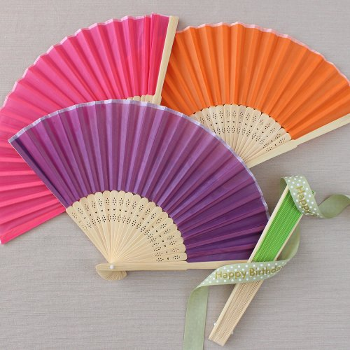 Colored Silk Hand Fans