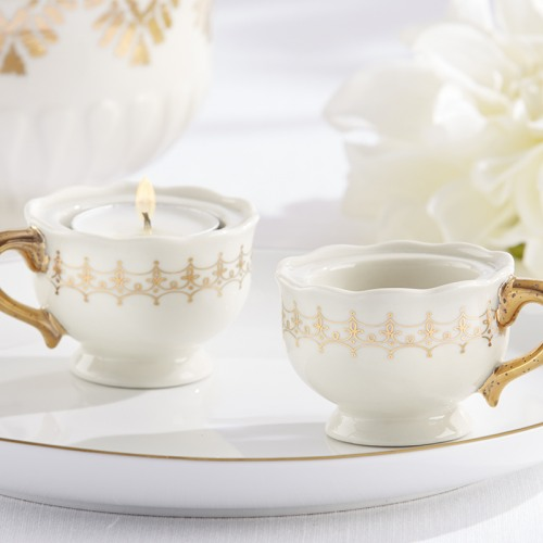 Mini Teacup Tealight Holder in Gold Accents