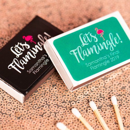 Personalized Let's Flamingle Wedding Matchboxes