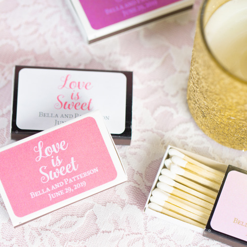 Personalized Love is Sweet Wedding Matchboxes