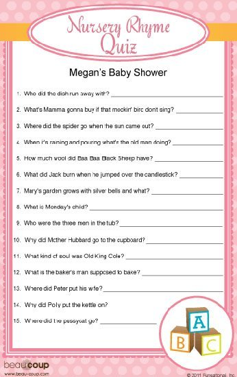 Exclusive Personalized Baby Shower Trivia Game