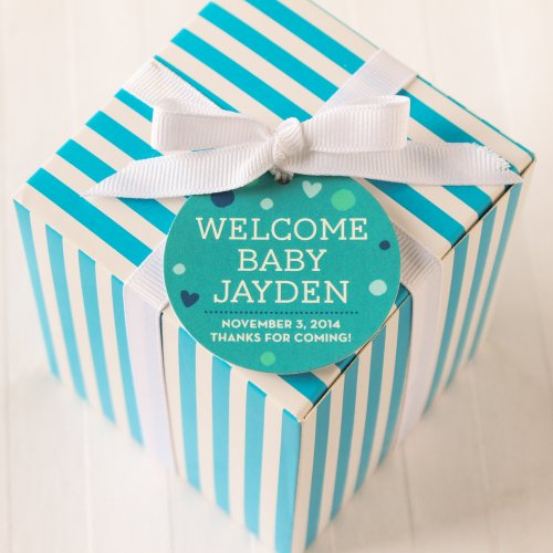 Baby Gift Labels : Personalized round baby shower gift tags