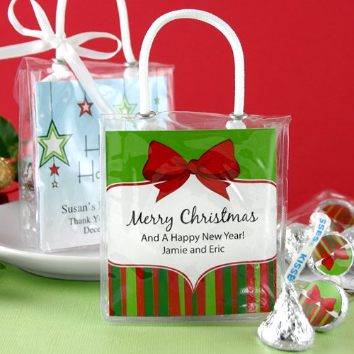 Giveaways For Christmas Party: Personalized Holiday Hershey's Kisses Mini Gift Tote