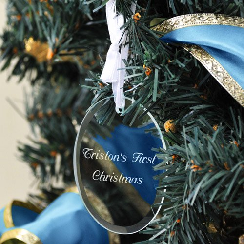 Personalized Glass Oval Babys First Christmas Ornament