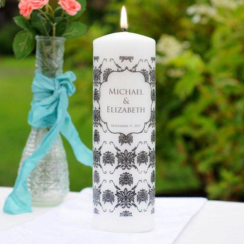 White Damask Unity Candle