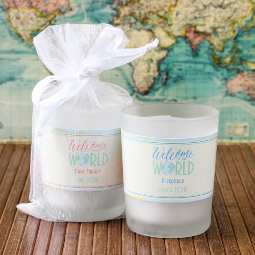 Personalized Welcome to the World Frosted Votive Candle Favor