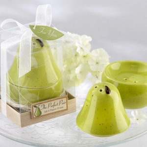"The ""Perfect Pair"" Pear Ceramic Salt and Pepper Shakers"