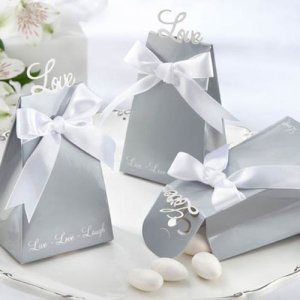 "Silver ""Love"" Favor Boxes"