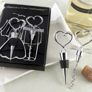 Bride and Groom Chrome Heart Wine Stopper and Corkscrew Set