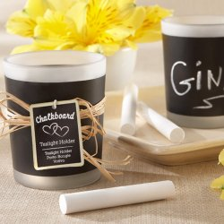 Chalkboard Frosted-Glass Tea Light Holders