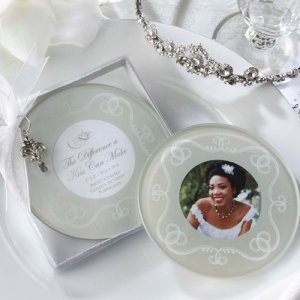 """The Difference a Kiss Can Make"" Frosted-Glass Photo Coasters"