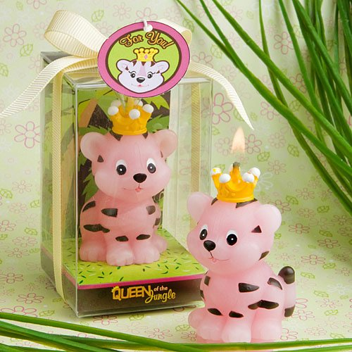 Queen Of The Jungle Pink Tiger Candle Favor