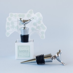"""Lovebirds"" Chrome Bottle Stopper"