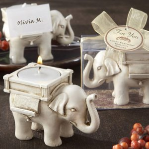 Antique Ivory Elephant Tea Light Holder
