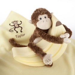 Personalized Monkey Plush and Blanket Gift Set