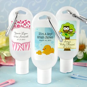 Personalized Baby Shower Sunscreen with Carabiner
