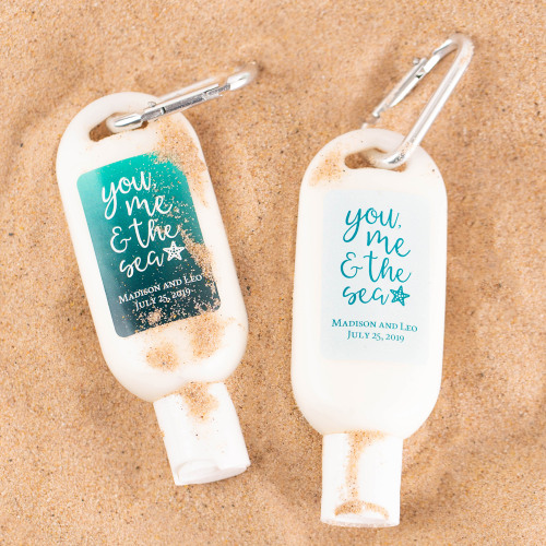 Personalized You Me & the Sea Sunscreen with Carabiner