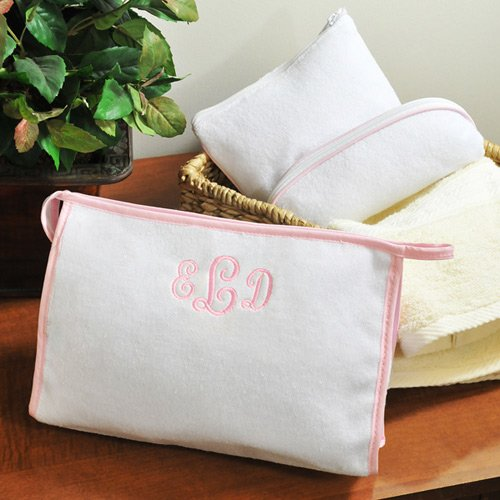 Personalized 3 Piece Terry Cloth Cosmetic Bags Gift Set