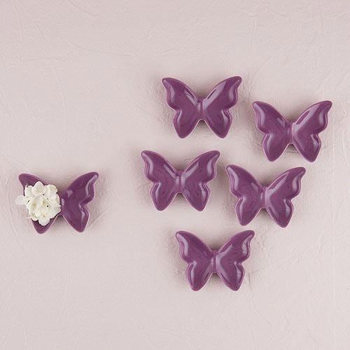 Ceramic Butterfly Dishes in Deep Lavender