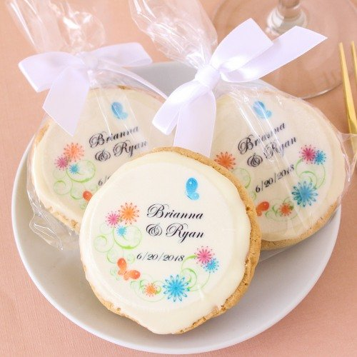 Custom Printed Round Wedding Cookie