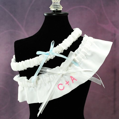 Embroidered Initials White Wedding Garter Set