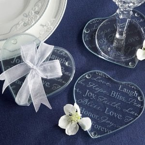 Good Wishes Heart Glass Coasters